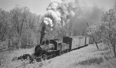 2018.15.N64C.7871--ed wilkommen 116 neg--EJ&S--steam locomotive 2-6-0 6 on mixed train action--location unknown--no date