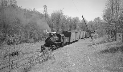 2018.15.N64C.7870--ed wilkommen 116 neg--EJ&S--steam locomotive 2-6-0 6 on mixed train action--location unknown--no date