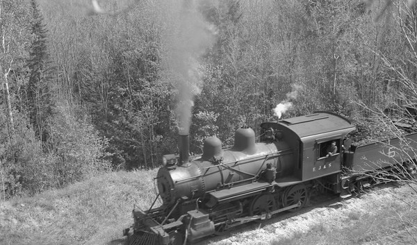 2018.15.N64C.7872--ed wilkommen 116 neg--EJ&S--steam locomotive 2-6-0 6 on mixed train action--location unknown--no date