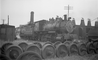 2018.15.N64.2775--ed wilkommen 116 neg--LST&T--steam locomotive 0-8-0 9 roundhouse scene--Superior WI--1944 0625