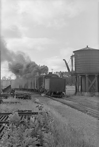 2018.15.N64.2813--ed wilkommen 6x9 neg--MT&W--steam locomotive 2-6-0 19 pulling freight cars action--Tomahawk WI--no date