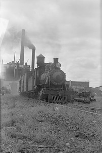 2018.15.N64.2816--ed wilkommen 6x9 neg--MT&W--steam locomotive 2-6-0 19 switching at paper plant--Tomahawk WI--1952 0828