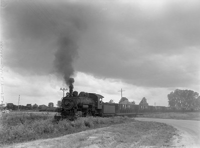 2018.15.N64.2827C--ed wilkommen 3x4 neg--Midland Electric Coal Corp--steam locomotive 0-6-0 85 with coal empties--Middle Grove IL--no date
