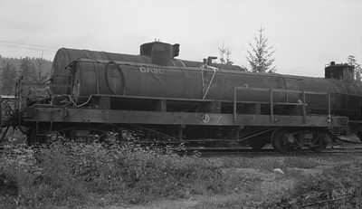 2018.15.N64L.8233B--ed wilkommen 116 neg--MacMillan Bloedel & Powell River--steam locomotive auxilliary water tender--Vancouver Island BC--no date