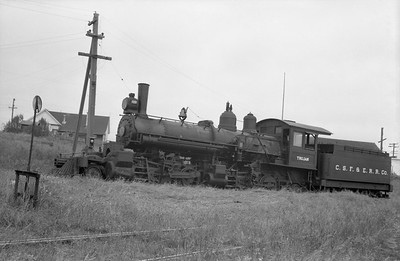 2018.15.N64.2556W--ed wilkommen 6x9 neg--Caspar South Fork & Eastern--steam locomotive 2-6-6-2 5 Trojan--Caspar CA--no date