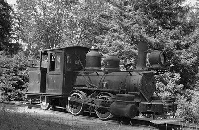 2018.15.N64.2556V--ed wilkommen 6x9 neg--Caspar South Fork & Eastern--steam locomotive 0-4-2 2 on display--Caspar CA--no date