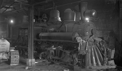 2018.15.N64L.8227A--ed wilkommen 116 neg--Goodman Lumber Co--Shay steam locomotive 9 inside enginehouse--Goodman WI--no date