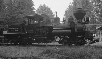 2018.15.N64L.8216--ed wilkommen 116 neg--Cowichan Valley Railway--Shay steam locomotive 1--Duncan BC--no date