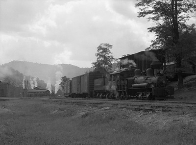 2018.15.N64L.8224--ed wilkommen 3x4 neg--Ely-Thomas Lumber Co--Shay steam locomotive 2 with freight cars--Fenwick WV--no date