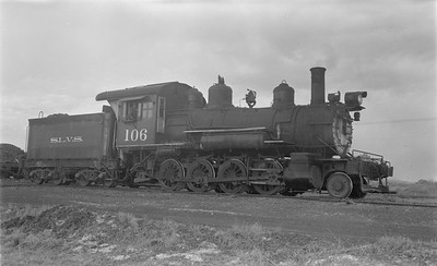 2018.15.N64.2929--ed wilkommen 116 neg--San Luis Valley Southern--steam locomotive 2-8-0 106 (ex D&RGW)--Blanca CO--no date