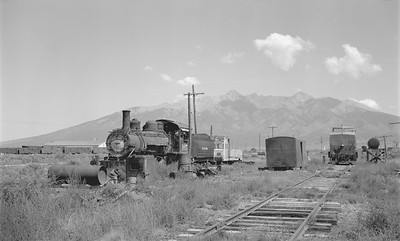 2018.15.N64.2936--ed wilkommen 116 neg--San Luis Valley Southern--yard scene with steam locomotive 2-8-0 105--Blanca CO--no date