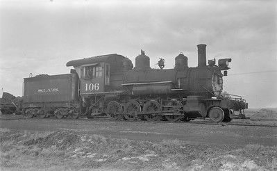 2018.15.N64.2937--ed wilkommen 116 neg--San Luis Valley Southern--steam locomotive 2-8-0 106--Blanca CO--1954 0528