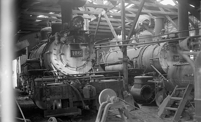 2018.15.N64.2926--ed wilkommen 116 neg--San Luis Valley Southern--steam locomotives inside enginehouse--Blanca CO--no date