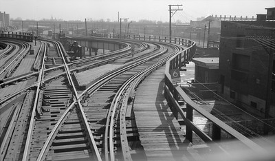 2018.15.N99E.8003--ed wilkommen 116 neg--CTA--ramp tracks to lower 63rd Street yard from Jackson Park branch--Chicago IL--1960s