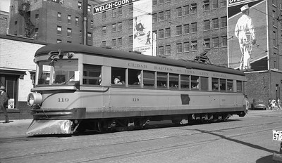 2018.15.N64.2580--ed wilkommen 116 neg--CRANDIC--interurban 119 at downtown station--Cedar Rapids IA--1945 1003