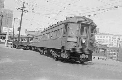 2018.15.N99B.7605--ed wilkommen 6x9 neg--CNS&M--electric interurban 753 and others departing station--Milwaukee WI-no date