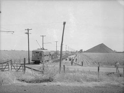 2018.15.N64.7445--ed wilkommen 3x4 neg--Southern Iowa Rwy--electric trolley 9 at end of track--location unknown--no date