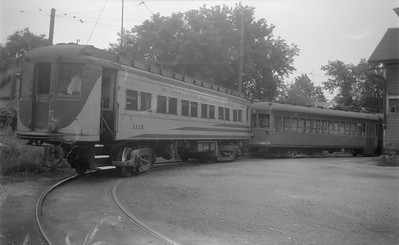2018.15.N91A.6602--ed wilkommen 116 neg--Speedrail--cars 1115 and 31 and 32 at Waukesha loop--Waukesha WI--no date