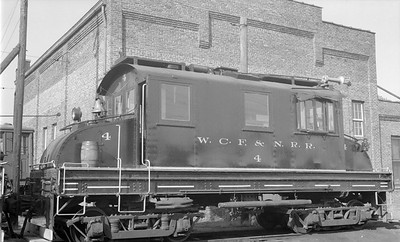 2018.15.N64.3018--ed wilkommen 116 neg--WCF&N--electric locomotive 4--Waterloo IA--1954 0718