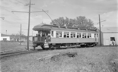 2018.15.N64.3028--ed wilkommen 116 neg--WCF&N--electric obs interurban 102 on wye--Waterloo IA--1954 0718