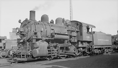2018.15.N95A.7185--ed wilkommen 116 neg [Edward R Batson Jr]--B&A--steam locomotive 0-6-0 B-11s 141--Boston MA--1950 0730