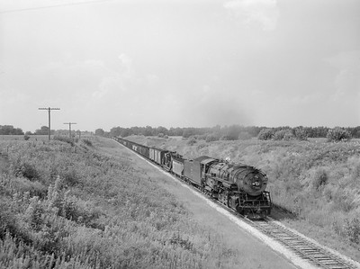 2018.15.N69.7477--ed wilkommen 3x4 neg--CB&Q--steam locomotive 2-10-4 M-4 6322 on southbound freight--near Jacksonville IL--1955 0802