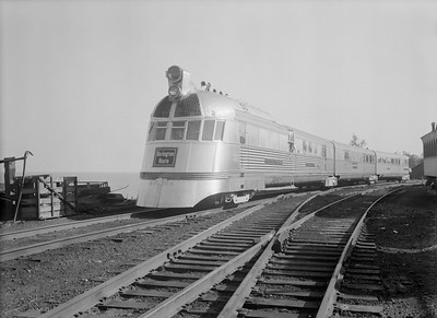 2018.15.N69.7480--ed wilkommen 3x4 neg--CB&Q--EMD diesel locomotive 9900 Pioneer Zephyr passenger train at Railroad Fair--Chicago IL--1949 0000