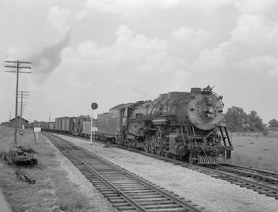 2018.15.N69.7479--ed wilkommen 3x4 neg--CB&Q--steam locomotive 2-10-4 M-4 6322 on southbound freight train--Concord IL--1955 0802