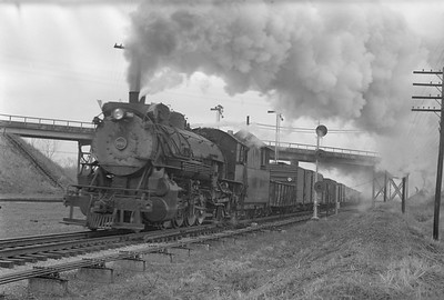 2018.15.N69.5542--ed wilkommen 6x9 neg--CB&Q--steam locomotive 2-8-2 O-1-A 5065 on freight train action--Oreopolis NE--1951 0400