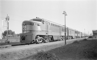 2018.15.N68B.4805--ed wilkommen 116 neg--CMStP&P--diesel locomotive FM 8 on passenger train--Miles City MT--1947 0831