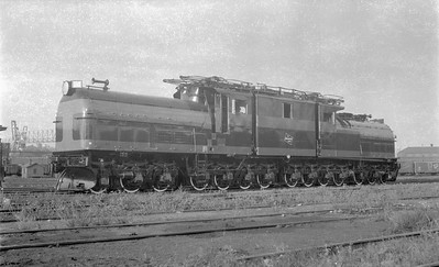 2018.15.N68D.4877--ed wilkommen 116 neg--CMStP&P--electric locomotive E-4 just rebuilt--Milwaukee WI--1954 0900