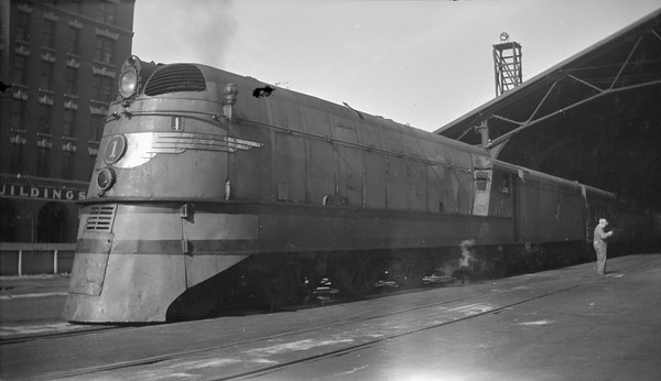 2018.15.N68A.3612A--ed wilkommen 116 neg--CMStP&P--steam locomotive 4-4-2 A 1 at station shed--Milwaukee WI--no date