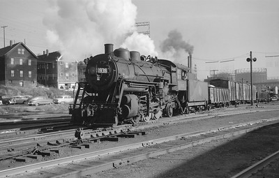 2018.15.N68F.4945--ed wilkommen 6x9 neg--CMStP&P--steam locomotive 2-6-2 K1 935 on work extra action--Milwaukee WI (cutoff)--1955 1104