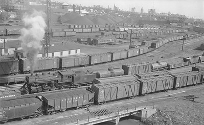 2018.15.N68F.4953--ed wilkommen 116 neg--CMStP&P--steam locomotive 2-6-2 K1as 943 switching in Muskego yard scene--Milwaukee WI--1955 1210