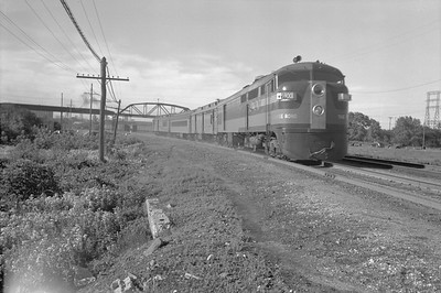 2018.15.N68F.4951--ed wilkommen 3x4 neg--CMStP&P--diesel-electric motorcar MILW 5900 on passenger train near Grand Ave--Milwaukee WI--1948 0700
