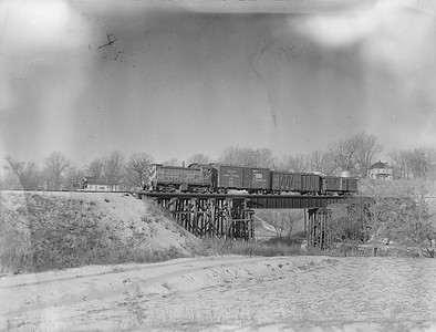 2018.15.N65C.3425--ed wilkommen 3x4 neg--C&NW--diesel locomotive ALCO 1263 on freight train--Platteville WI--no date