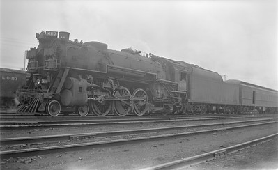 2018.15.N85.6382--ed wilkommen 116 neg--C&O--steam locomotive 4-6-2 480 on passenger train--Charlottesville VA--1951 0600