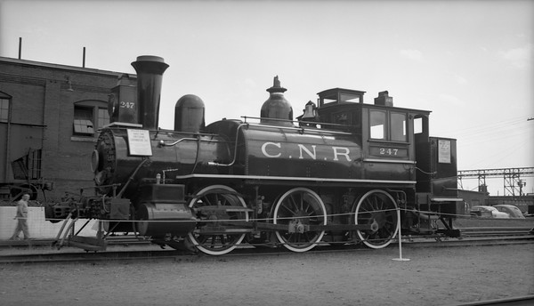 2018.15.N82.6299B--ed wilkommen 116 neg--CNR--steam locomotive 0-6-0T 247 on display--Portland ME--1953 0814