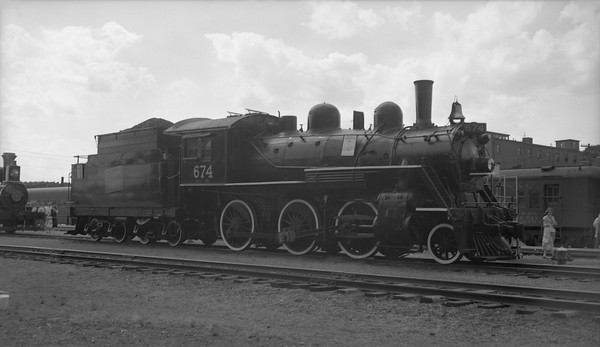 2018.15.N82.6301B--ed wilkommen 116 neg--CNR--steam locomotive 2-6-0 E-7-a 674 on display--Portland ME--1953 0814