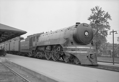 2018.15.N83.6344--ed wilkommen 6x9 neg--CP--steam locomotive 4-4-4 F2A 3000--location unknown--no date