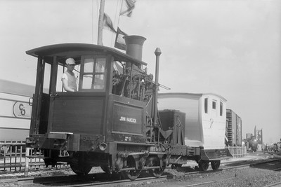 2018.15.N54.6903--ed wilkommen 6x9 neg--Chicago Railroad Fair--John Hancock 0-4-0 and car--Chicago IL--1949 0000