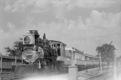 2018.15.N54.6905--ed wilkommen 6x9 neg--Chicago Railroad Fair--D&RGW 2-8-0 268 and passenger train--Chicago IL--1949 0000