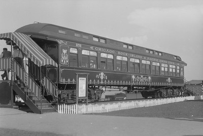 2018.15.N54.6904--ed wilkommen 6x9 neg--Chicago Railroad Fair--CRI&P wooden passenger coach--Chicago IL--1949 0000