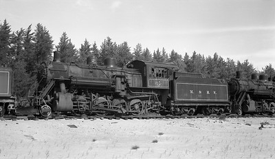 2018.15.N92B.8170--ed wilkommen 116 neg--LS&I--steam locomotive 2-8-0 22 stored at sand pit siding (dead)--Presque Isle MI--c1960s 0000