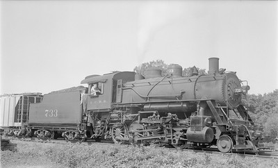 2018.15.N87.6397--ed wilkommen 116 neg--ICRR--steam locomotive 2-8-0 733 on freight train--Reevesville IL--1956 0621