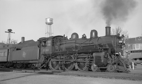 2018.15.L.6981--ed wilkommen pc neg--CMStP&P--steam locomotive 4-6-0 G6cs 1133 on commuter passenger train--Fox Lake IL--1939 1113