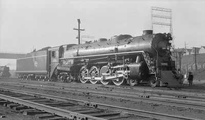 2018.15.L.6975--ed wilkommen pc neg--CMStP&P--steam locomotive 4-8-4 S2 201 first time under steam--Milwaukee WI--1937 1107