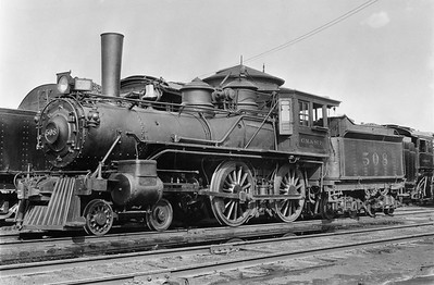 2018.15.L.6977M--ed wilkommen 5x7 COPY neg--CM&StP--steam locomotive 4-4-0 H6d 508--location unknown--no date