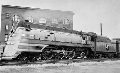 2018.15.L.6979M--ed wilkommen 5x7 COPY neg--CMStP&P--steam locomotive 4-6-2 F2 801 (streamlined)--Sioux Falls SD--no date