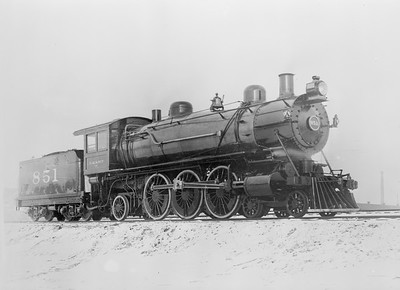 2018.15.L.6980--ed wilkommen 4.5x6 neg--CMStP&P--steam locomotive 4-6-2 F2 851 built in Milwaukee shops--c1905 0000